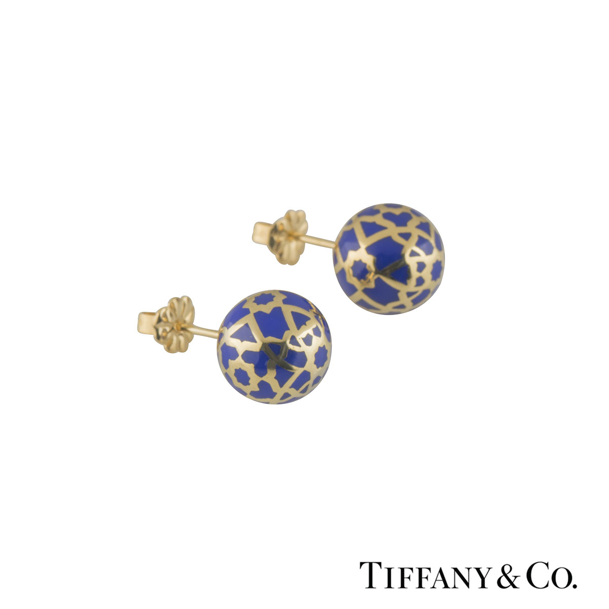 Tiffany & Co. Yellow Gold Enamel Earrings